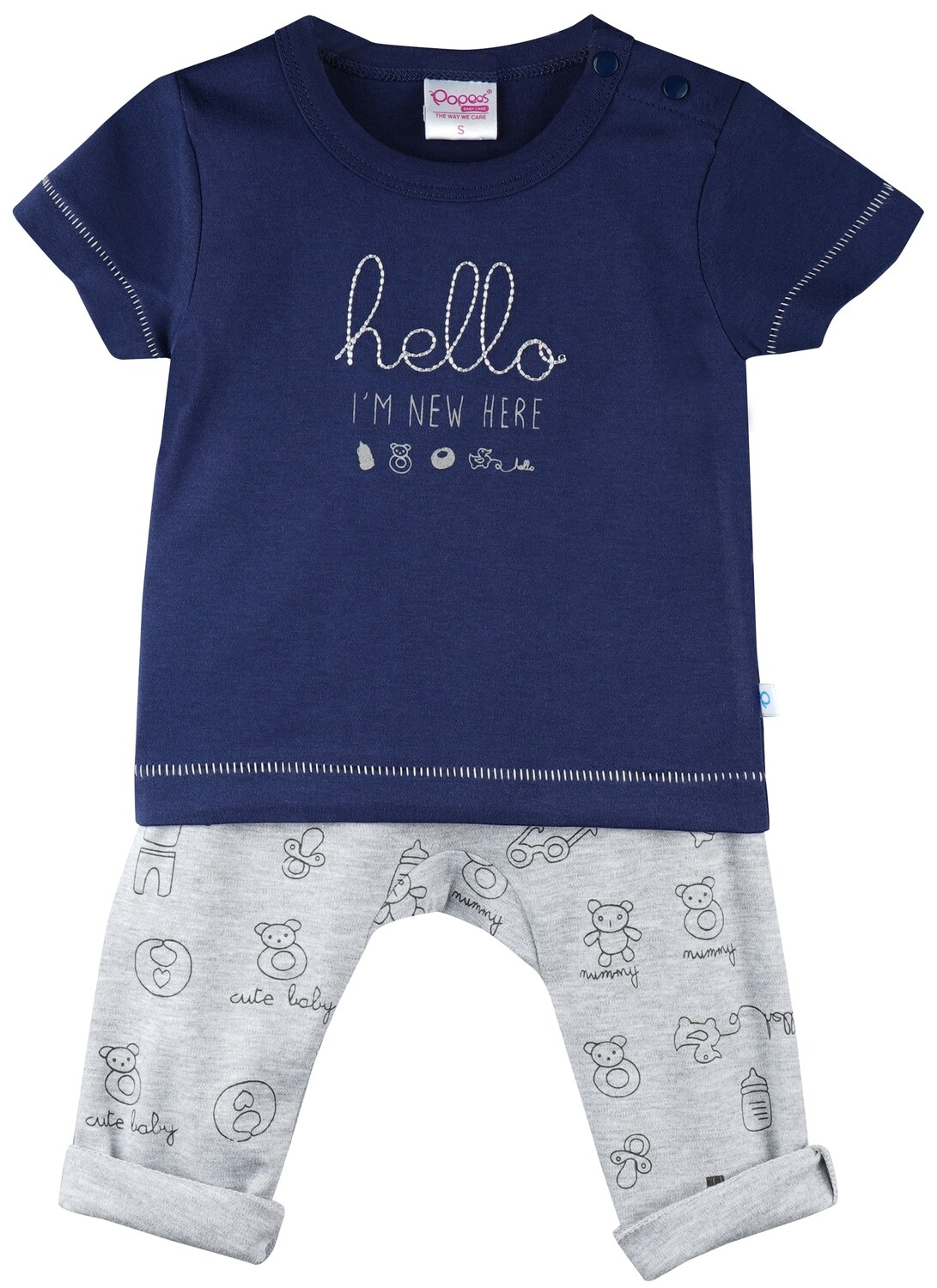 Qubee Navy Blue Half Sleeves Round Neck T-Shirt with Printed Lounge Pant