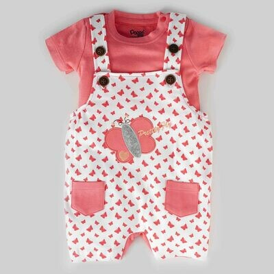 Tibby Coral Butterfly Printed Dungaree with Round Neck Half Sleeve T-Shirt for Boys