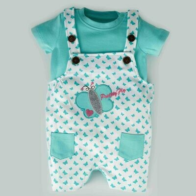 Tibby Dark Green Butterfly Printed Dungaree with Round Neck Half Sleeve T-Shirt for Boys