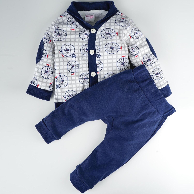 Ryker Dark Blue Printed Full Sleeve Top with Dark Blue Long Pants XXL (24-30 Months)