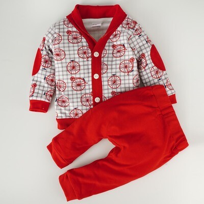 Ryker Red Printed Full Sleeve Top with Red Long Pants