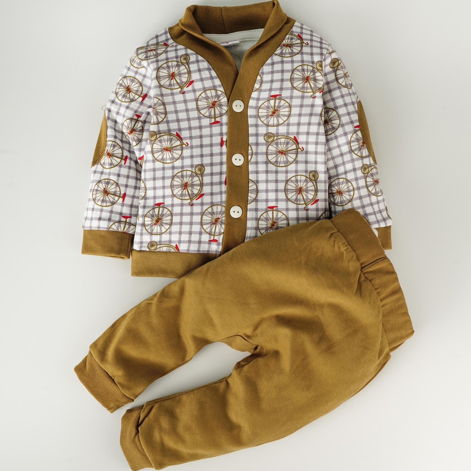 Ryker Gold Printed Full Sleeve Top with Dull Gold Long Pants XXL (24-30 Months)