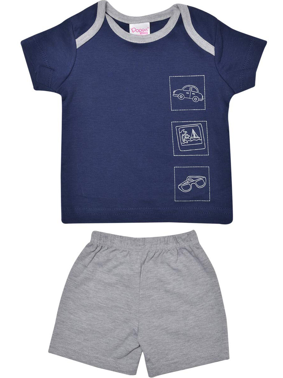 Charun Ivory Half Sleeves Navy Blue Top with Shorts