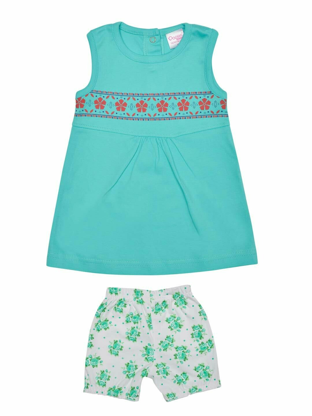 Roshia Sleeveless Dark Green Frock with Shorts for Baby Girls