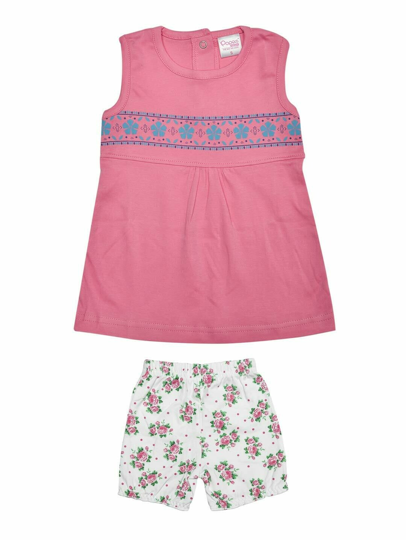 Roshia Sleeveless Azalea Pink Frock with Shorts for Baby Girls