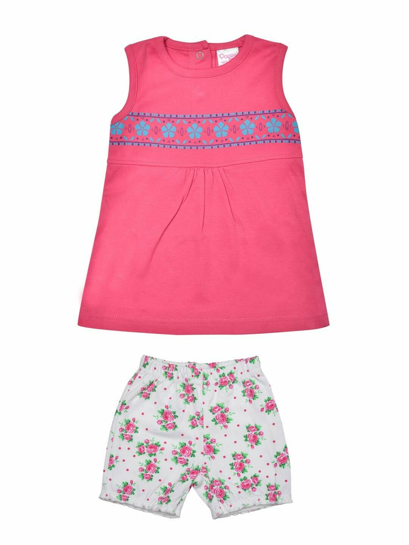 Roshia Sleeveless Fuchsia Frock with Shorts for Baby Girls