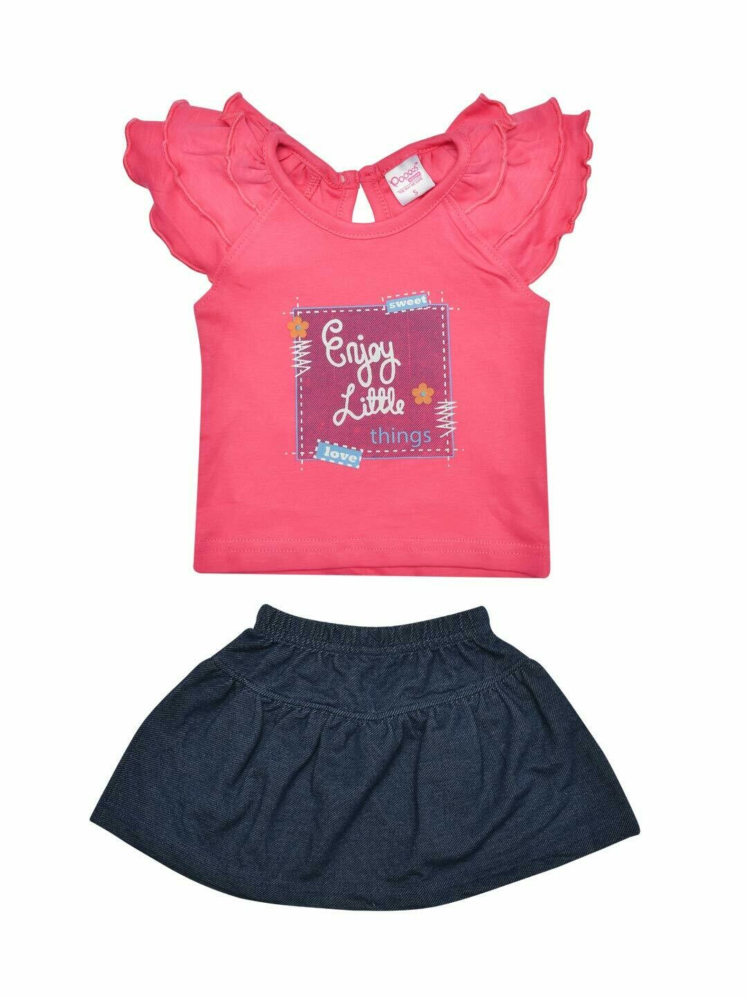 Things Baby Girl's Fuchsia Cap Sleeve Top with Skirt