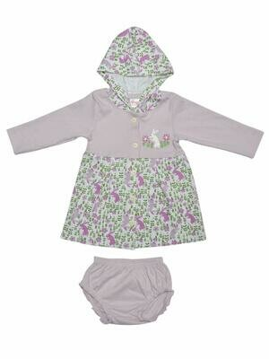 Thumper Full Sleeve Lavender Fog Hooded Frock and Panty for Baby Girls