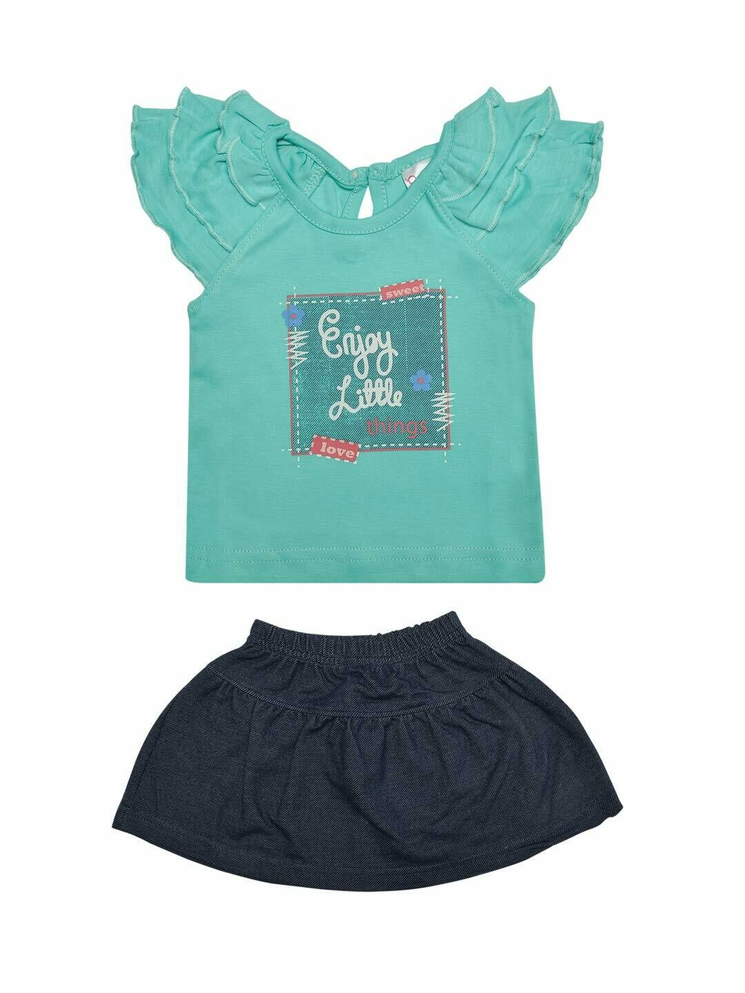 Things Baby Girl's Dark Green Cap Sleeve Top with Skirt