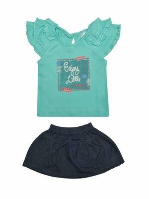 Things Baby Girl's Dark Green Cap Sleeve Top with Skirt
