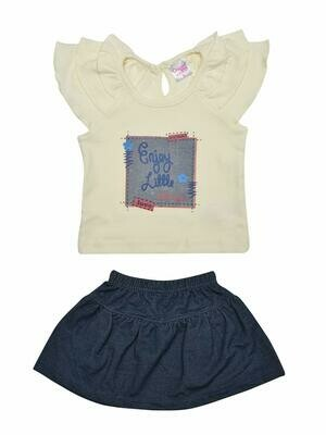 Things Baby Girl's Ivory Cap Sleeve Top with Skirt