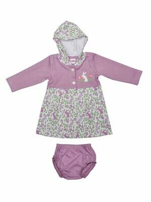 Thumper Full Sleeve Lavender Herb Hooded Frock and Panty for Baby Girls