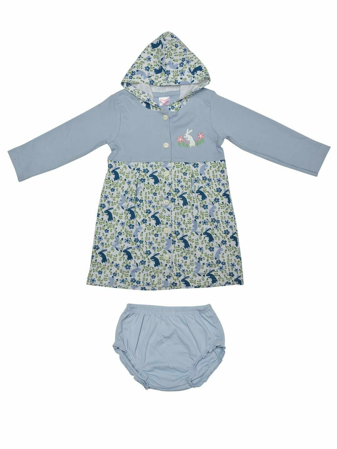 Thumper Full Sleeve Kent Blue Hooded Frock and Panty for Baby Girls