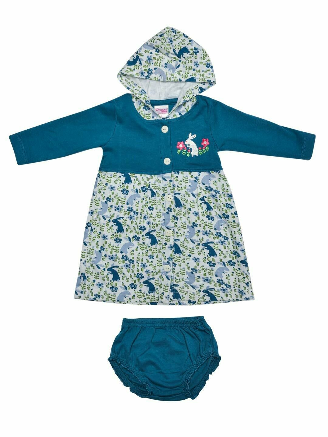 Thumper Full Sleeve Celestial Blue Hooded Frock and Panty for Baby Girls