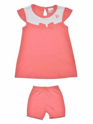 Thikki Cap Sleeve Corel Frock with Panty for Baby Girls