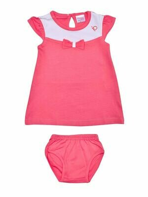 Thikki Cap Sleeve Fuchsia Frock with Panty for Baby Girls