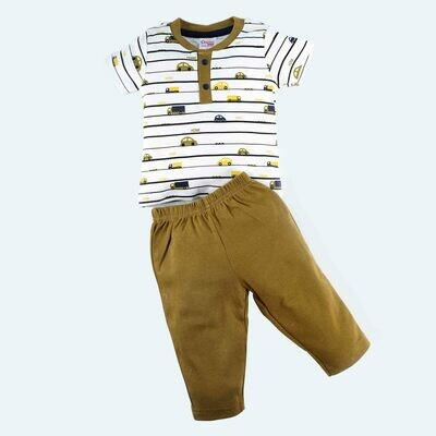 Adolf Dull Gold Round Neck Half Sleeves T-Shirt with Lounge Pant for Boys