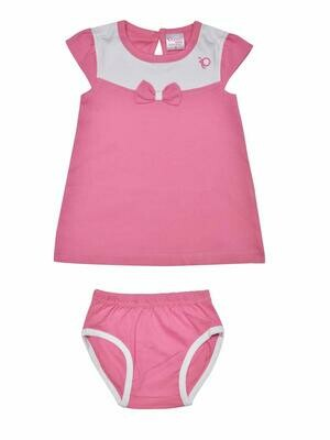 Thikki Cap Sleeve Azalea Pink Frock with Panty for Baby Girls