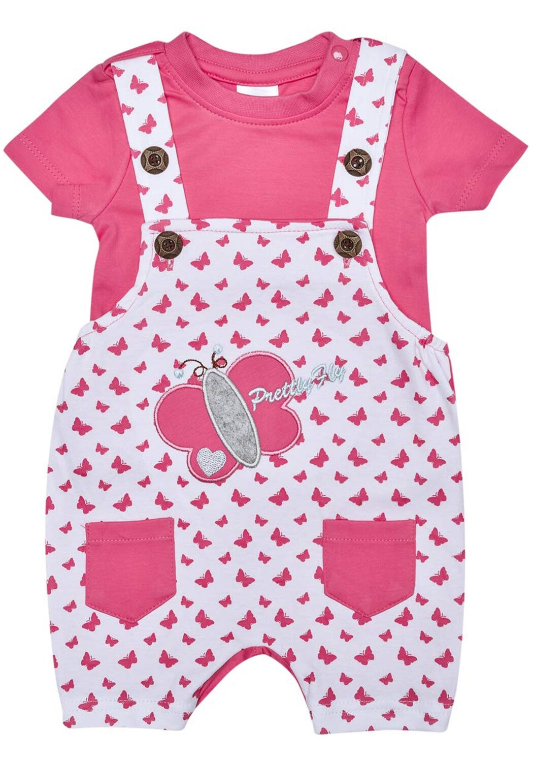 Tibby Fuchsia Butterfly Printed Dungaree with Round Neck Half Sleeve T-Shirt for Boys