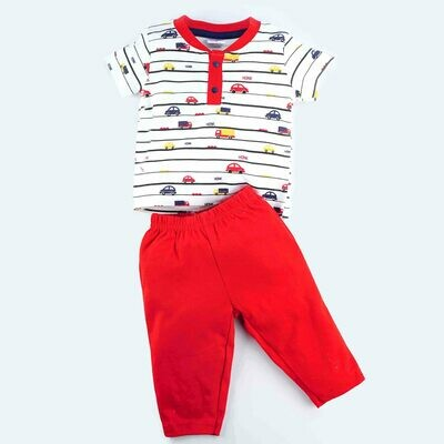 Adolf Red Round Neck Half Sleeves T-Shirt with Lounge Pant for Boys