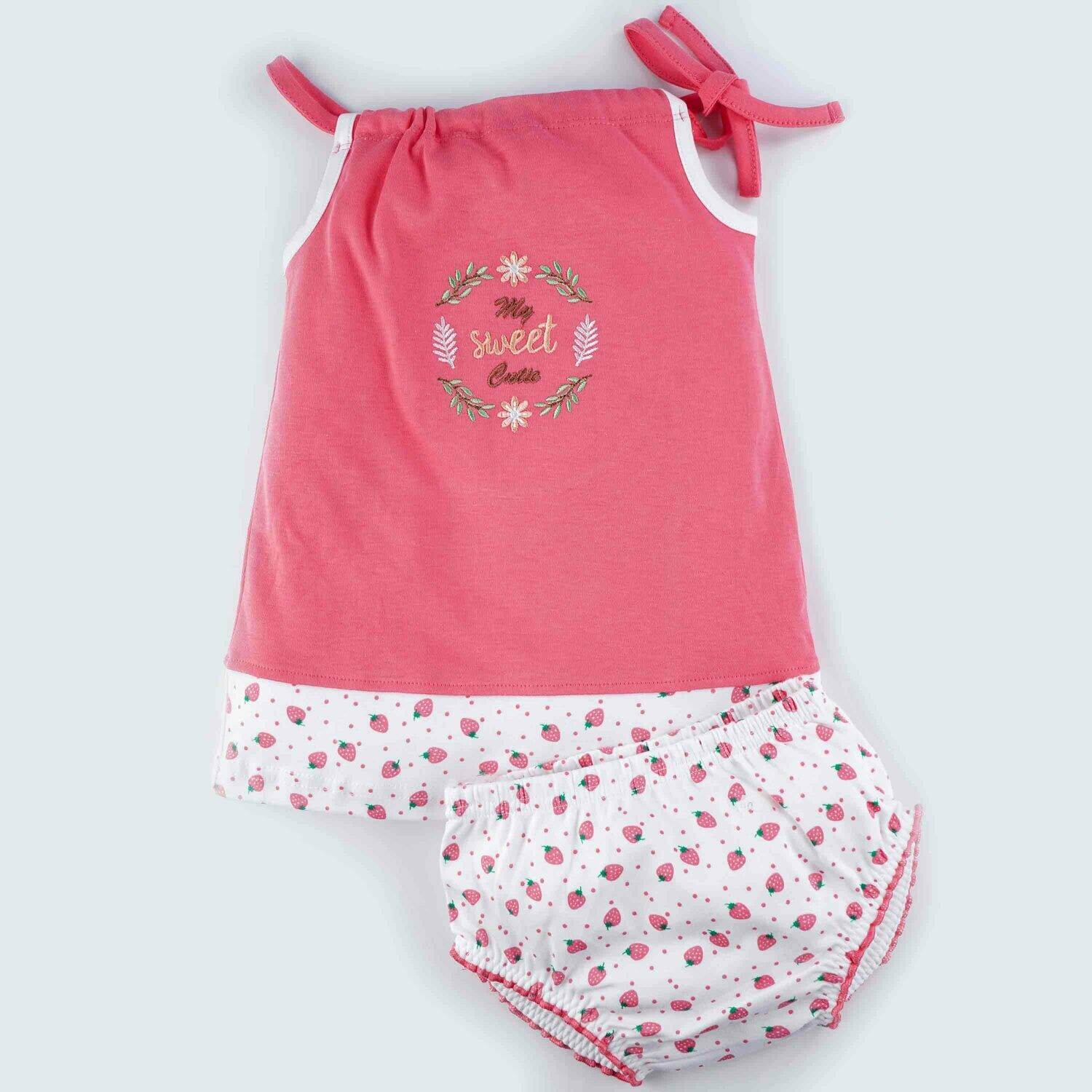 Blume Coral Shoulder Knot Sleeveless Strawberry Design Cotton Top With Bloomer for Baby Girls L (12-18 Months)