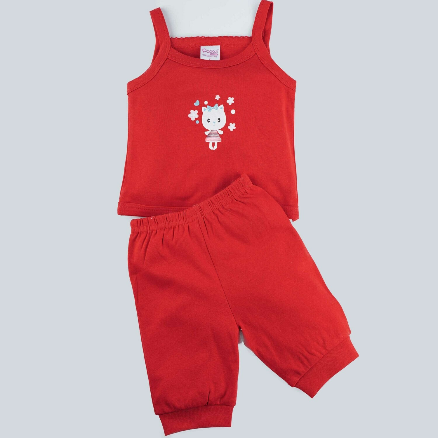 Richy Red Strappy Sleeveless Top with Shorts for Girls