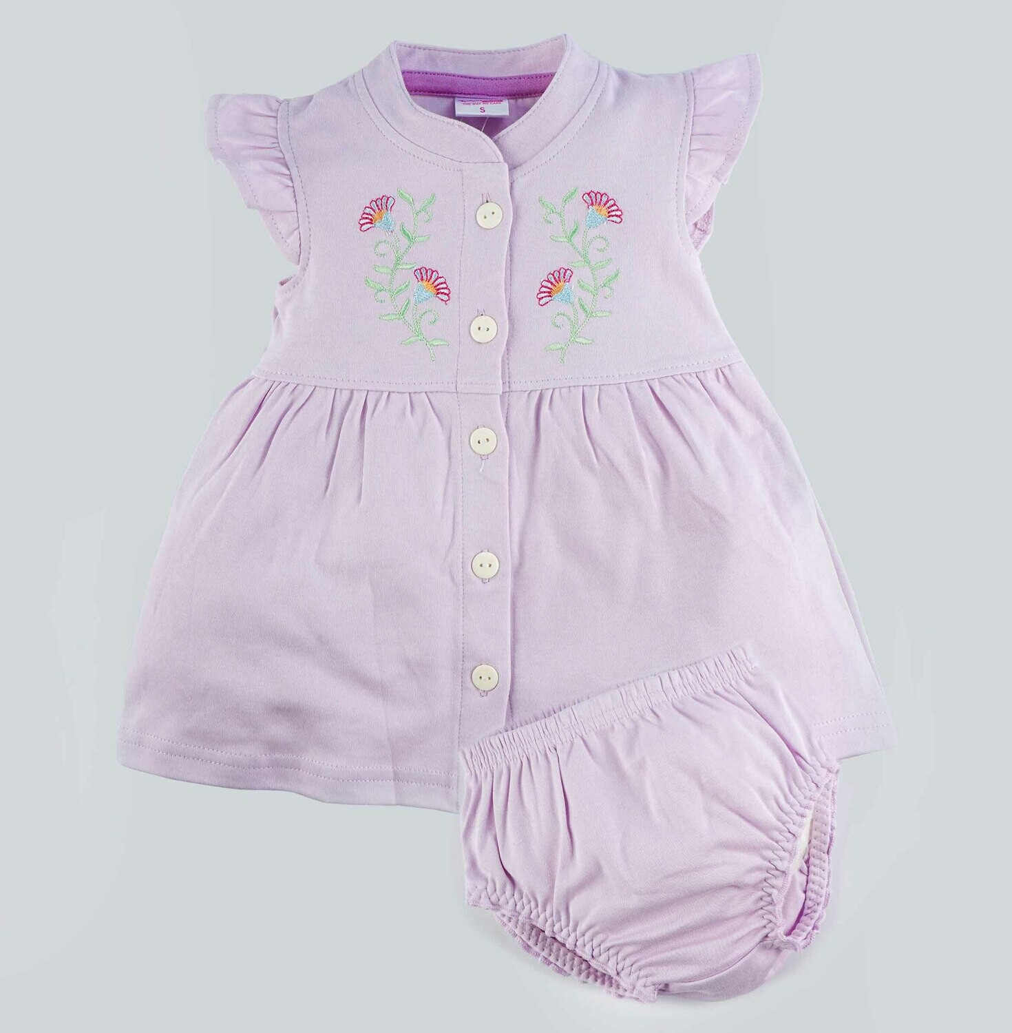 Moana Lavender Fog Full Sleeves Flower Embroidered Collar Frock with Bloomer