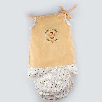 Blume Yellow Shoulder Knot Sleeveless Strawberry Design Cotton Top With Bloomer for Baby Girls