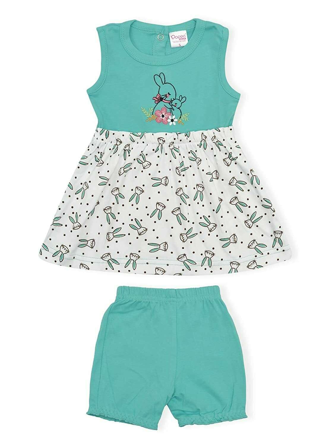 Soha Dark Green Round Neck Sleeveless Rabbit Printed Frock with Bloomer