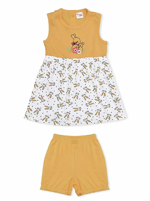 Soha Yellow Round Neck Sleeveless Rabbit Printed Frock with Bloomer