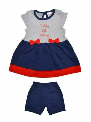 Maple Navy Blue Bow Design Half Sleeves Frock with Shorts