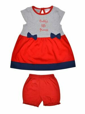 Maple Red Bow Design Half Sleeves Frock with Shorts
