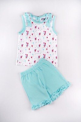 Clinsy Aqua Sky / White Balloon Padding Sleeveless Top with Bloomer for Baby Girls