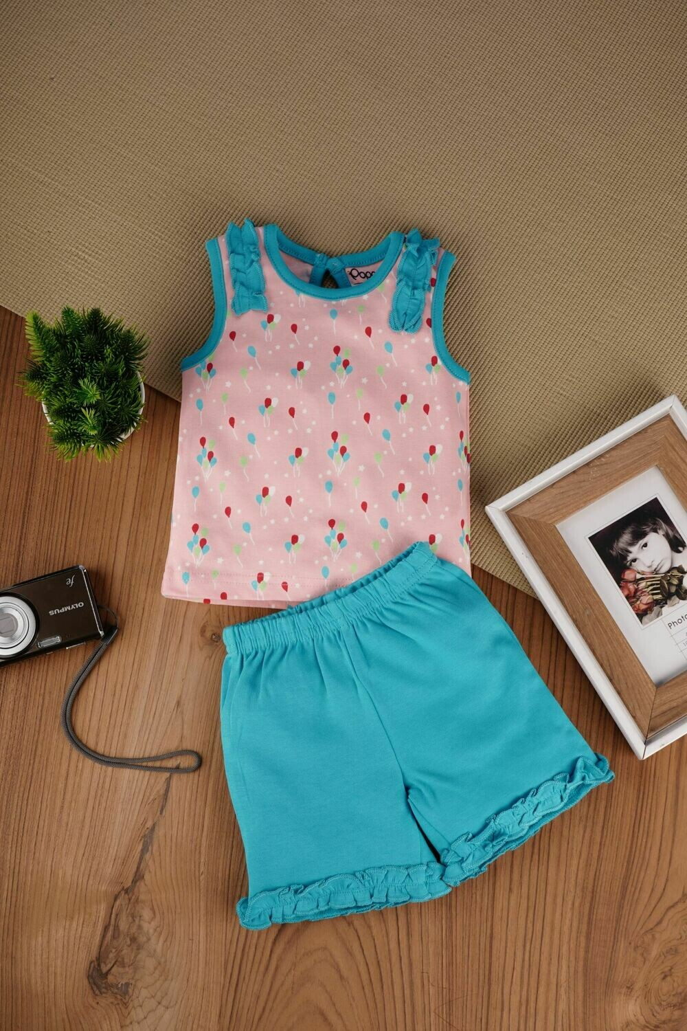 Clinsy S.Green / A.Blush Balloon Padding Sleeveless Top with Bloomer for Baby Girls