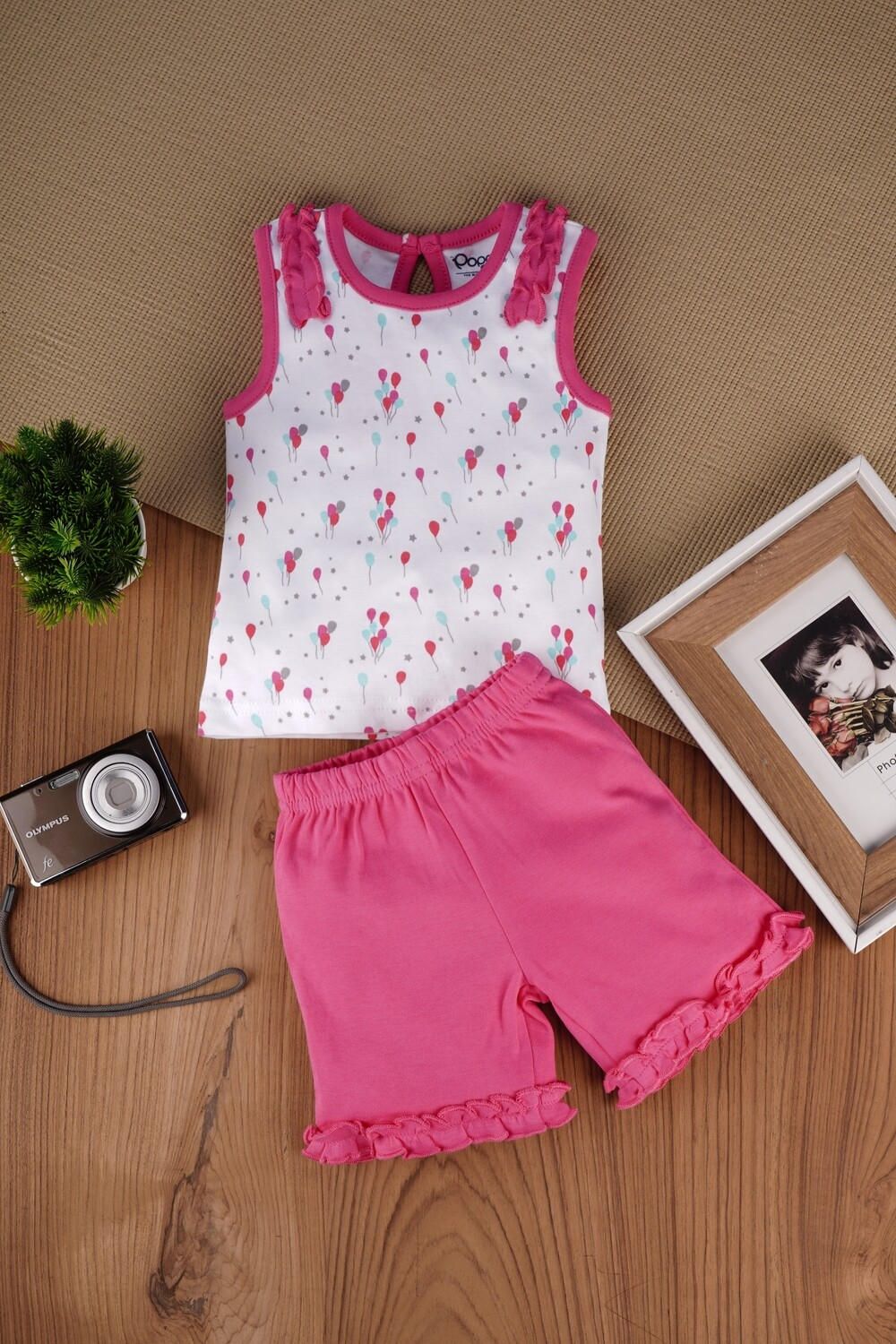 Clinsy Fuchsia / White Balloon Padding Sleeveless Top with Bloomer for Baby Girls