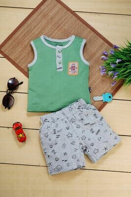 Ragnar Sleeveless Round Neck T-Shirt with Green Eyes Printed Shorts for Boys