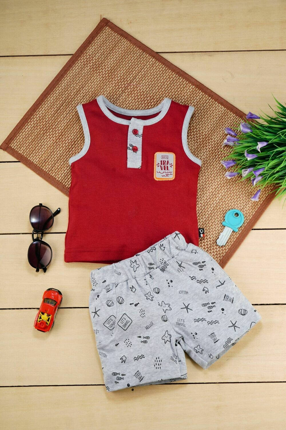 Ragnar Sleeveless Round Neck T-Shirt with Garnet Printed Shorts for Boys 12-18 Months (L)