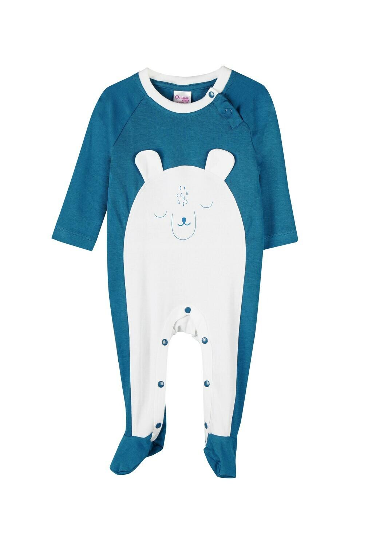 Popees Unisex Celestial blue Color Sonnet Full Sleeve Romper with Design M (6-12 Months)