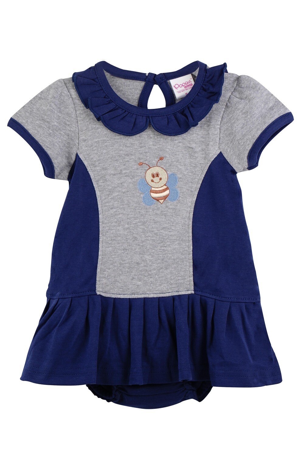 Omega Navy Blue Half Sleeve Frock with Bloomer for Baby Girls
