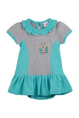 Omega Dark Green Half Sleeve Frock with Bloomer for Baby Girls