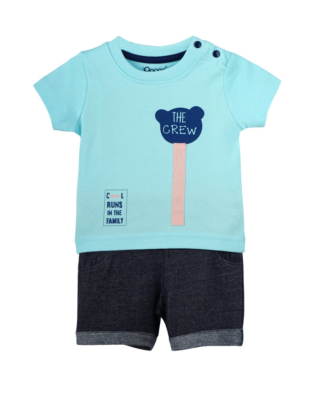 BONEY BLUE Top & Bottom Top/Trouser Half Sleeve Shoulder Open Interlock BOYS