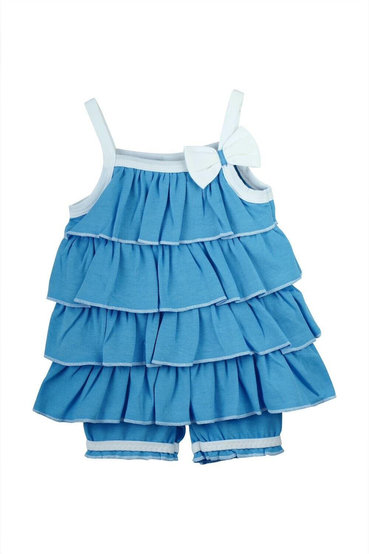 BOOBY DARK BLUE Top/Capri Sleeveless No Open Interlock For Girls