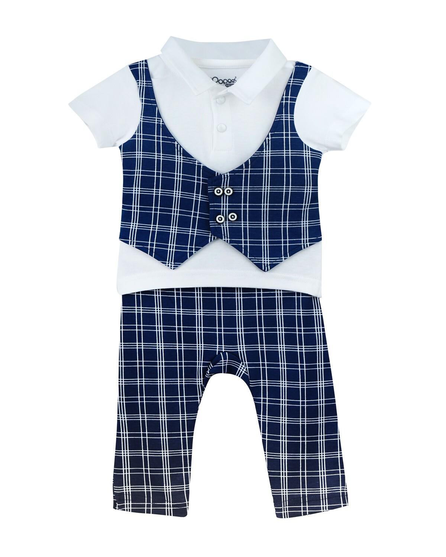 CALIPSO Navy Blue Top & Bottom Top/Trouser Half Sleeve No Open Interlock BOYS