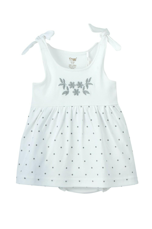 GAZAL White Top & Bottom Frock/Panties Sleeveless Shoulder Strap Interlock Girls