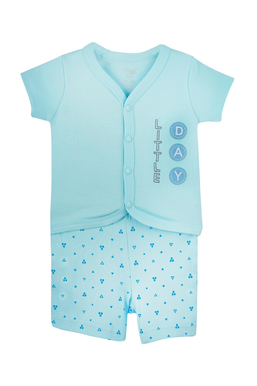 MODRICS Blue Top & Bottom Top/Shorts Half Sleeve Front Open Interlock Boys