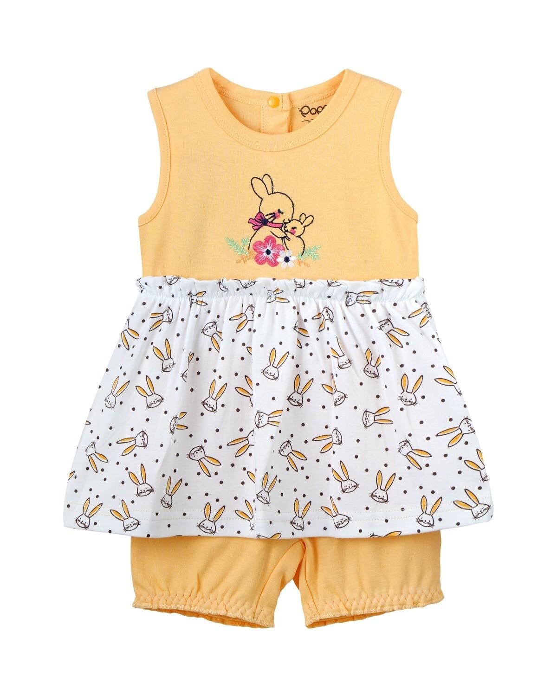 SOHA Yellow Top & Bottom Frock/Bloomer Full Sleeve Shoulder Open Interlock GIRLS