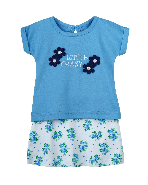 VINCI Dark Blue Top & Bottom Top/Skirt Half Sleeve Shoulder Open Interlock Girls
