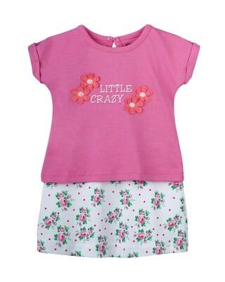 VINCI Azalea Pink Top & Bottom Top/Skirt Half Sleeve Shoulder Open Interlock Girls
