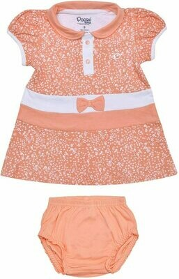 AGNUS Peach Blush Frock/Panties Half Sleeve Front Open Interlock GIRLS
