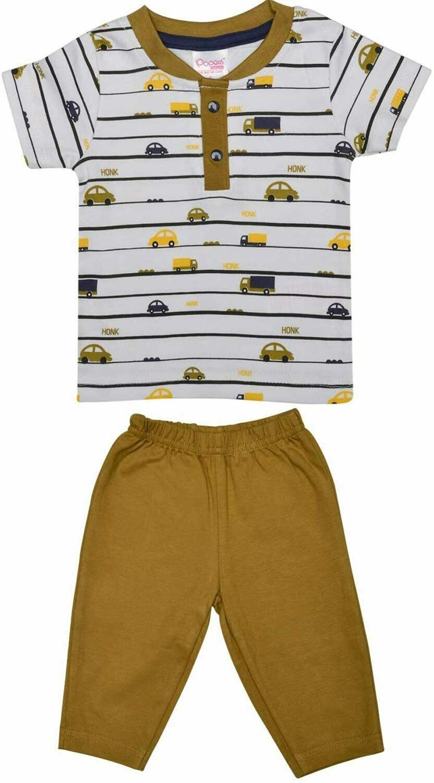 ADOLF Dull Gold Top/Trouser Half Sleeves Front Open Interlock BOYS